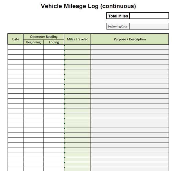 Premium Vehicle Auto Mileage Expense Form