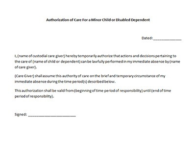 Care Authorization Form Sample Template - Letter Of Authorization Form