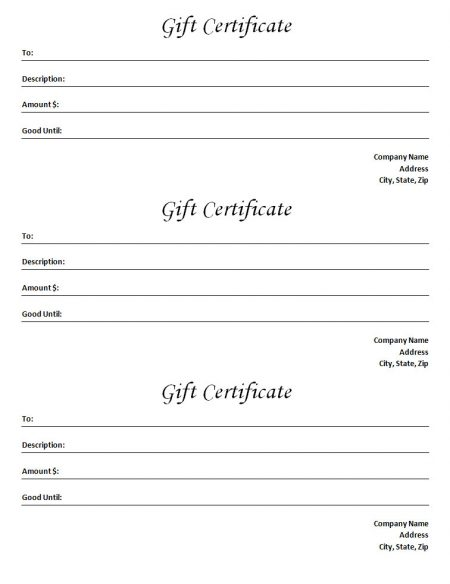 Gift Certificate Template - Blank Microsoft Word Document - gift certificate word