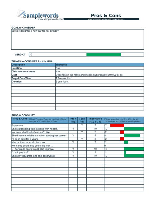 Pros and Cons List - Checklist in Excel and PDF format