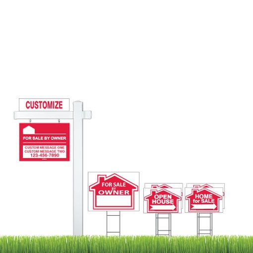 Deluxe Red For Sale By Owner - 7 Sign Bundle with Real Estate Post