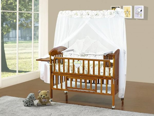 SamuelsDirect Mahogany Baby Cot Bed/ Baby Crib-181-1-psb2