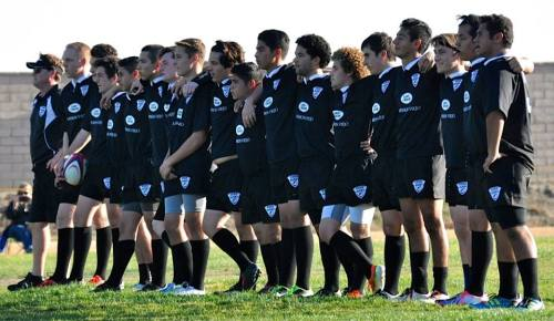 The Dana Hills rugby club lines up before taking the field. Photo by Keith Falk