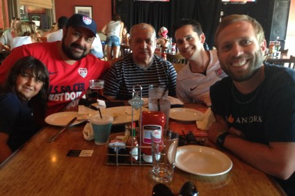 U.S. Men's National Team supporters arrived at the OC Tavern early on Monday to watch America play Ghana in the 2014 FIFA World Cup. Photo: Steve Breazeale