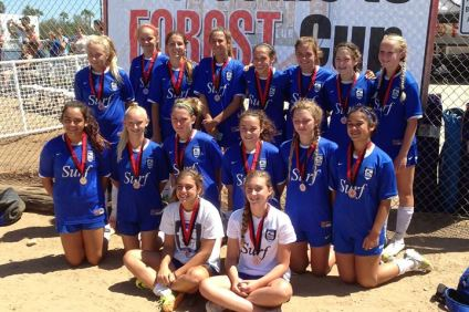 The San Clemente Surf girls U15 team finished runner-up at the Notts Forrest Cup Tournament on Aug. 31. Courtesy photo