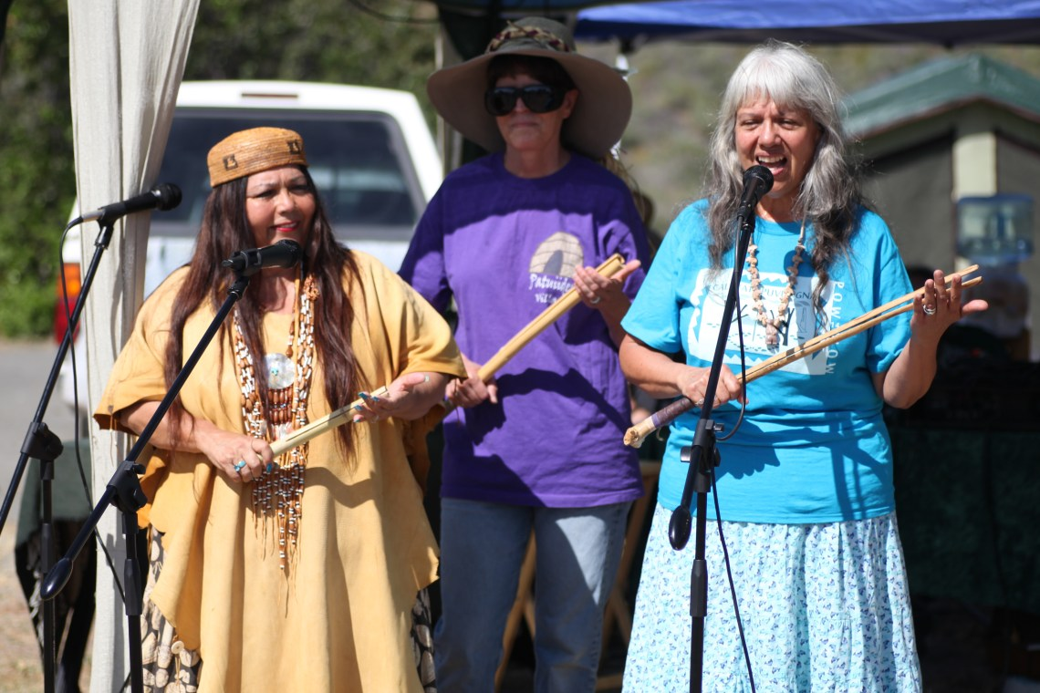 Traditional singing at Sunday's Panhe event at the San Mateo Campground. Photo by Allison Jarrell