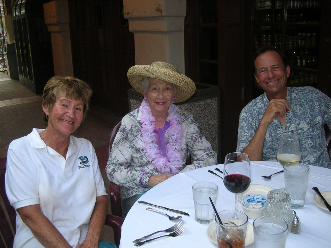Anna Anderson (left) and her husband, Joe (right), are photographed with Dorothy Fuller in this circa 2006 photo during the San Clemente Ocean Festival. Photo: Courtesy of the Anderson family