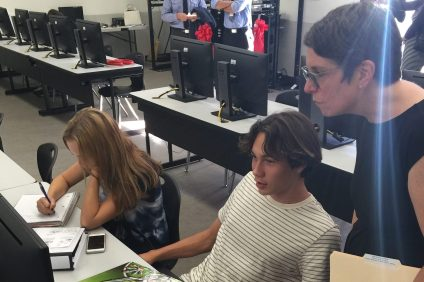 Students at San Clemente High School test out the new Cisco Learning Lab on Tuesday, Sept. 27, at the school. Photo: Courtesy of Capistrano Unified School District.
