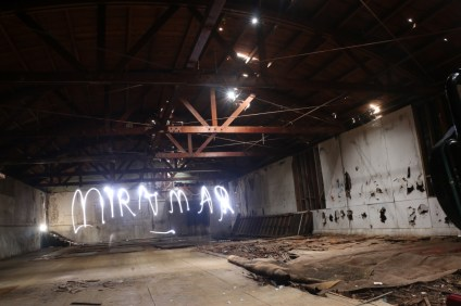 In this long-exposure photo, done with light painting, the bowling alley portion of the Miramar facility shows its wear. The ceiling will have to be completely redone, according to the owners, but a sky-light roof is planned to be constructed in its place. Photo: Eric Heinz