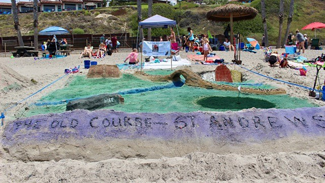 A sand replica of the famous Old Course at St. Andrews was entered in an Ocean Fest contest. Photo: Duane Paul Murphy