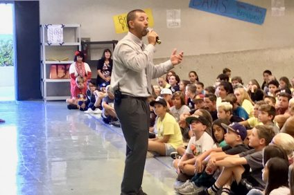Principal Nick Stever addresses incoming sixth-graders during WEB Orientation on Aug. 17. Bernice Ayer Middle School's first day of the academic year was Aug. 22. Photo: Duane Paul Murphy