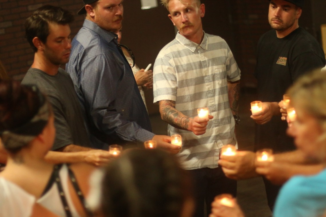 About 20 people attended a candlelight vigil on Aug. 31 for international drug overdose awareness day at the Community Outreach Alliance headquarters in San Clemene.  Photo: Eric Heinz