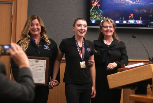 San Clemente's Kendall Stier was awarded a gold medal at the U.S. Paralympics National Championships in shot put. Stier was honored for her achievements at the Sept. 5 San Clemente City Council meeting. Photo: Eric Heinz