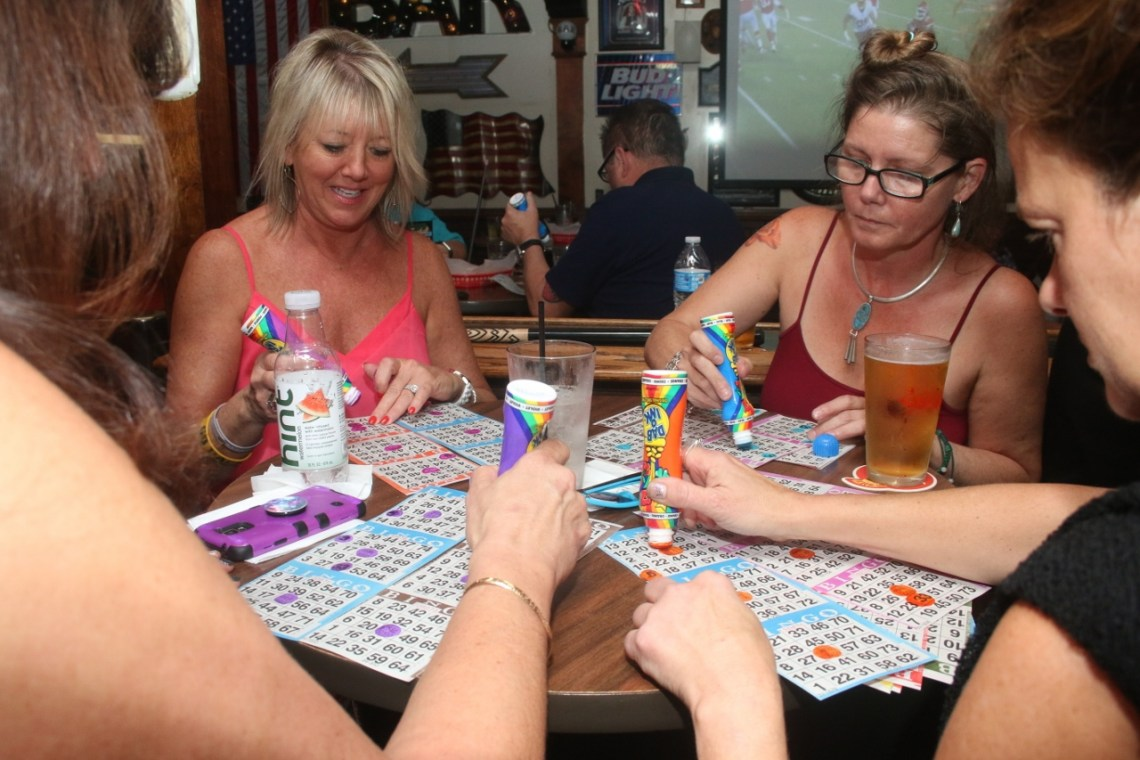 Paige Fusaro, left, has missed out on only a few charity bingo nights at Goody's Tavern in San Clemente. Photo: Eric Heinz