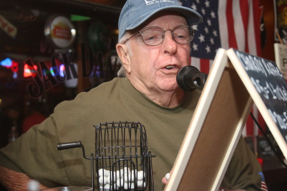 Ed Armstrong filled in to call the bingo numbers on Oct. 2 at Goody's Tavern charity bingo night. Photo: Eric Heinz
