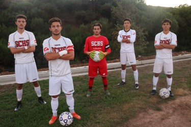 Dylan Krufal, Tristan Weber, Jake Carter, Kevin Smith and Blake Bowen are ready to lead the San Clemente boys soccer team back into the Orange County spotlight. Photo: Steve Breazeale
