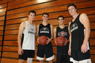 L to R: Jay Baggs, Nick Martino, Jacob Nemeth, Chris Kane and the San Clemente boys basketball team will attempt to win the South Coast League for a fourth consecutive season. Photo: Steve Breazeale