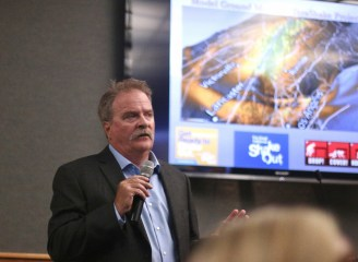 Neal Driscoll, Ph.D., a professor with the geosciences research division at Scripps Institution of Oceanography at the University of California-San Diego, gave a lecture on Nov. 28 to residents. Photo: Eric Heinz