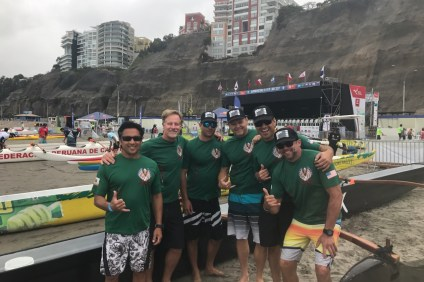 Members of the Dana Outrigger Canoe Club on the shores of Lima, Peru for the South American Canoe Championships. Photo: Courtesy
