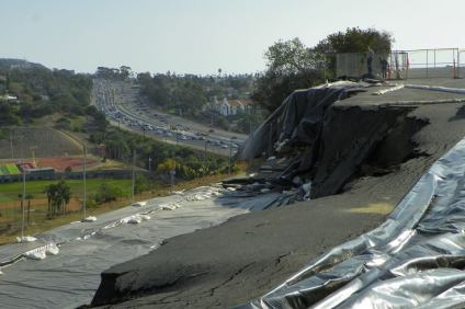 Since October, significant portions of the parking lot at St. Andrews by-the-Sea United Methodist Church, located at 2001 Calle Frontera, have slid off the slope of the church. A local geotechnical firm will study the sliding land to find out what's causing it. Photo: Courtesy