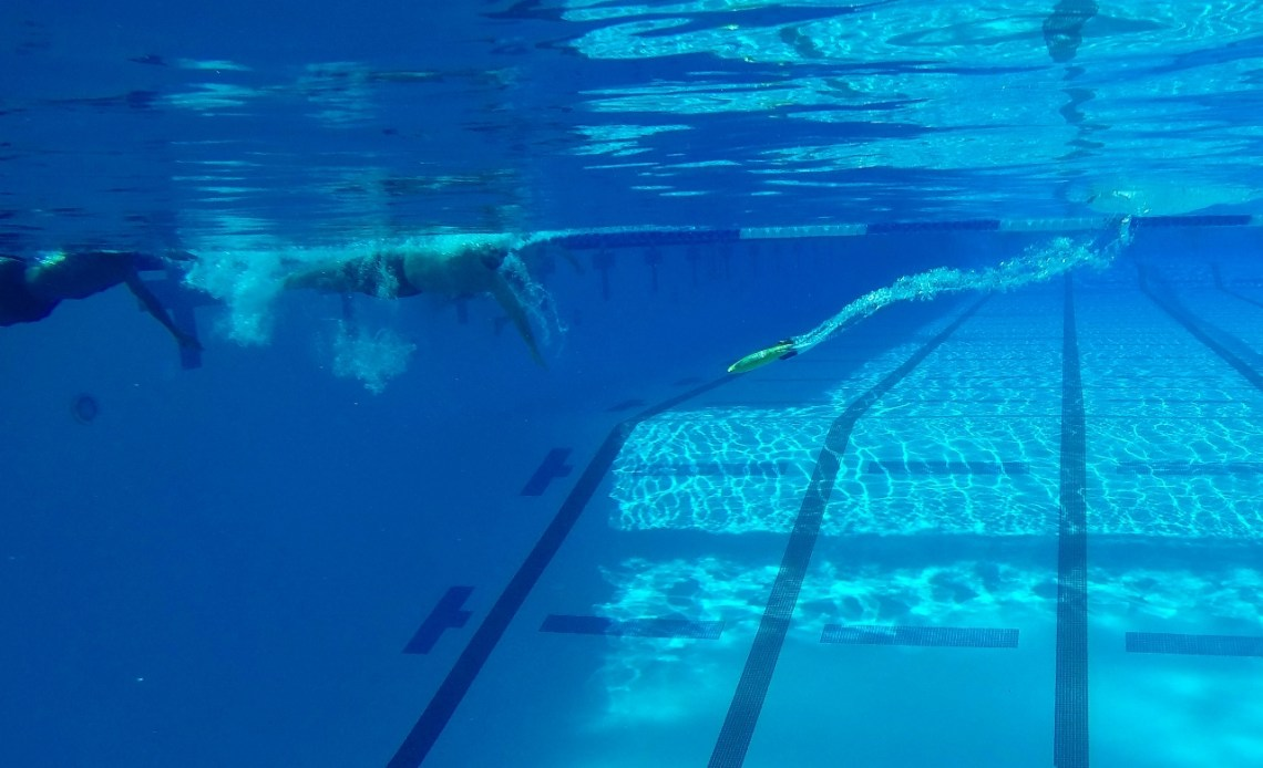 The torpedo used to score points in underwater torpedo submerges after being thrown to an opposing team during the first Aquabowl of the Underwater Torpedo League on Jan. 27 at the San Clemente Aquatics Center.