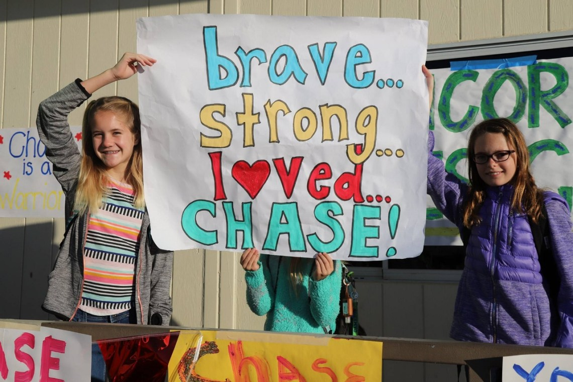Students lined the streets for a police escort for Chase Walters on Feb. 6 at Concordia Elementary School. Photo: Courtesy of OCSD/ Deputy Jeremiah Prescott