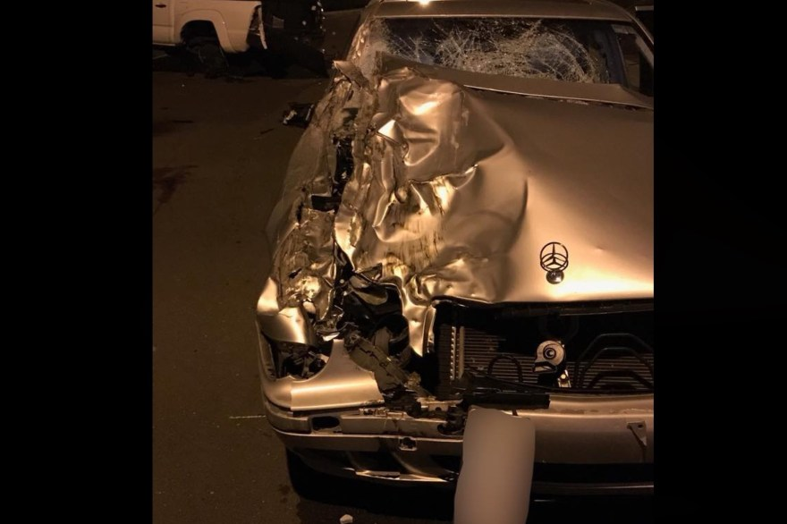 A photo from OCSD shows the vehicle involved in a collision that left one teenager dead and one injured after the drive lost control of the car on Feb. 18 in San Clemente. Photo: Courtesy of OCSD