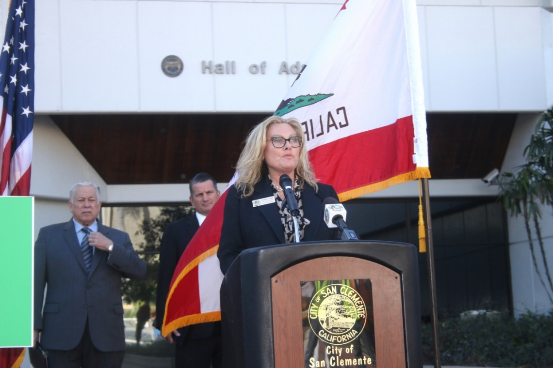 Kathy Ward speaks during a press conference on Thursday, March 1 in Santa Ana. Ward is the city of San Clemente representative on the TCA's Foothill/Eastern Transportation Cooridor Agency.