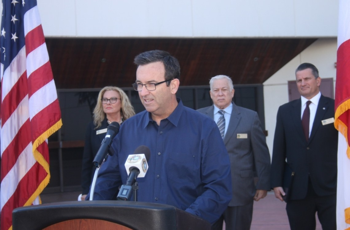 Mark McGuire, a San Clemente resident and land use attorney, speaks during a press conference on Thursday, March 1 in Santa Ana. Photo: Eric Heinz