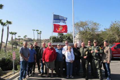People came out to view the first flag raising ceremony of the South Coast Detachment of the Marine Corps League on April 27. Photo: Courtesy of Wayne Eggleston