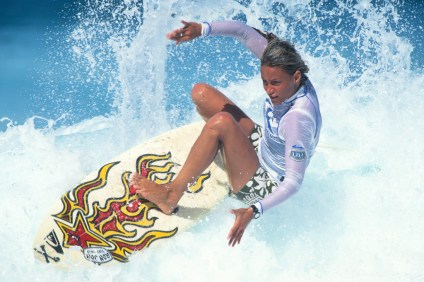 Lisa Andersen is photographed surfing in 1995. Photo: Courtesy of SHACC/Divine.