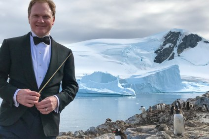 Dr. Michael Fennelly of San Clemente has performed music on all seven continents, including Antarctica (pictured). Fennelly returns to South Orange County on Saturday, June 23 to perform his concert 'Rhapsody.' Photo: Courtesy of Michael Fennelly