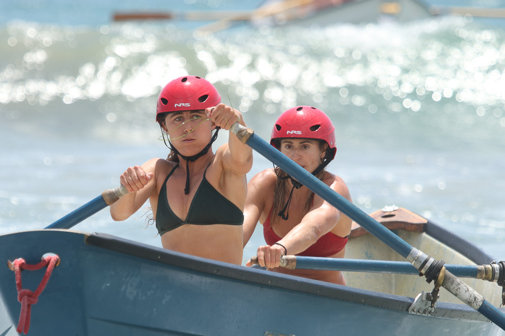 The only two women to enter the Dory boat race put forth a valiant effort on Saturday, July 21, at the San Clemente Ocean Festival. Photo: Eric Heinz
