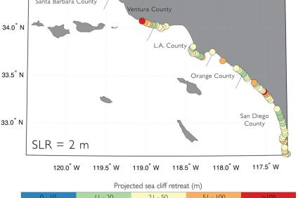 This map of the Southern California coastline shows cliff retreat with forecasts using 6.6 feet of sea level rise. Orange and red circles indicate extreme erosion beyond 167 feet. Photo: Courtesy of USGS public domain files