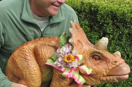 Michael Haley holds a puppet Triceratops intended to help children learn about gemological features. The puppet will be a feature of the SOCGEMS Sept. 19 meeting at the San Clemente Community Center. Photo: Courtesy of SOCGEMS
