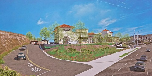 CoastLine: An artist's rendering shows the site for a drive-thru restaurant, two smaller eateries and a bank on the west end of San Clemente's Target Store parking lot. Photo: Fred Swegles