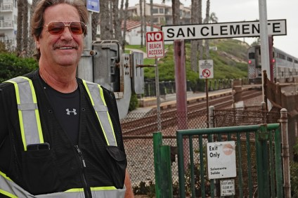 Mycle Brandy takes a walk on the San Clemente Beach Trail. He was forced to turn back on his most recent cross-country trip due to wildfires and illness, but Brandy said he wants to try again next year. Photo: Fred Swegles