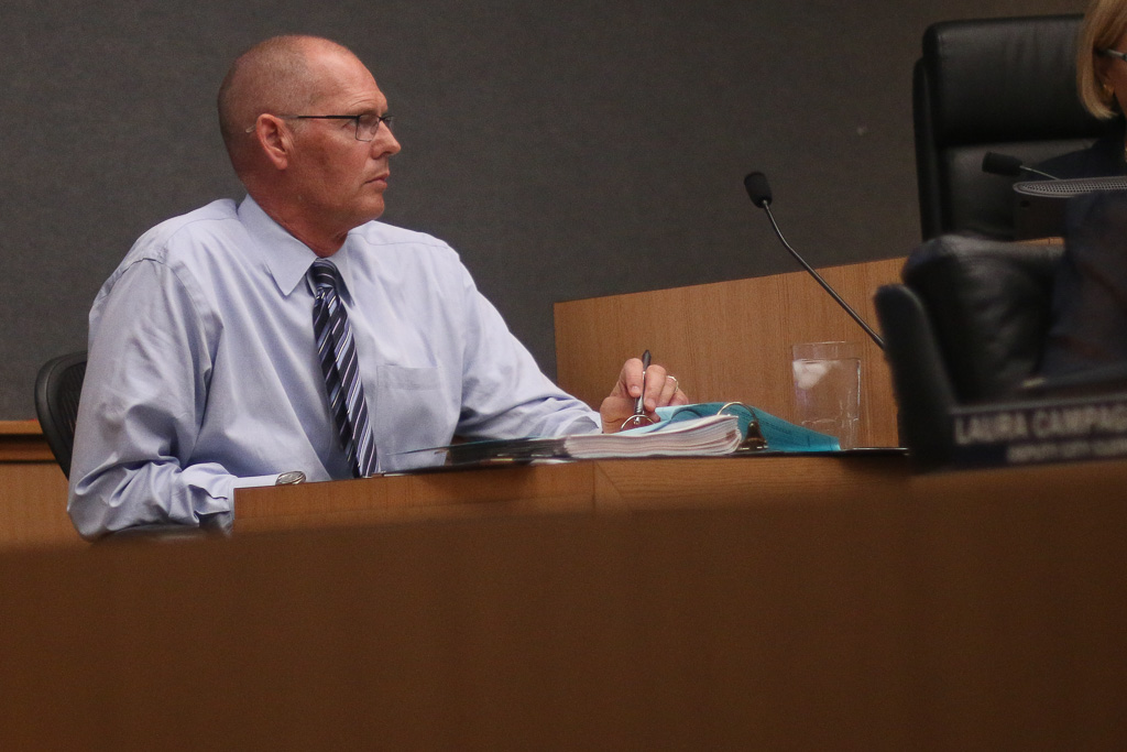 City Manager James Makshanoff recused himself during the City Council deliberations of his contract at the Tuesday meeting, Nov. 20. Photo: Eric Heinz