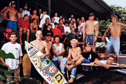 Kelly Slater, Rob Machado and the Momentum Generation at Benji Weatherly's mom's house at Pipeline, Hawaii, during the winter of 1989. Photo: Art Brewer/SURFER Magazine