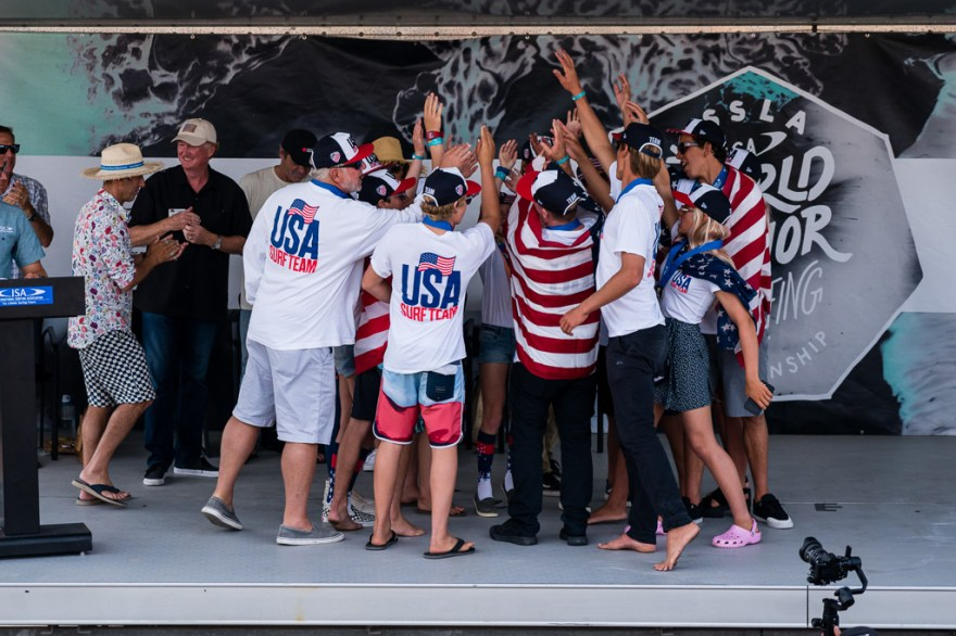 Surf: Team U.S.A. celebrates its silver medal winning performance at the 2018 Vissla ISA World Junior Surfing Championship up in Huntington Beach last week. Photo: Ben Reed/ISA