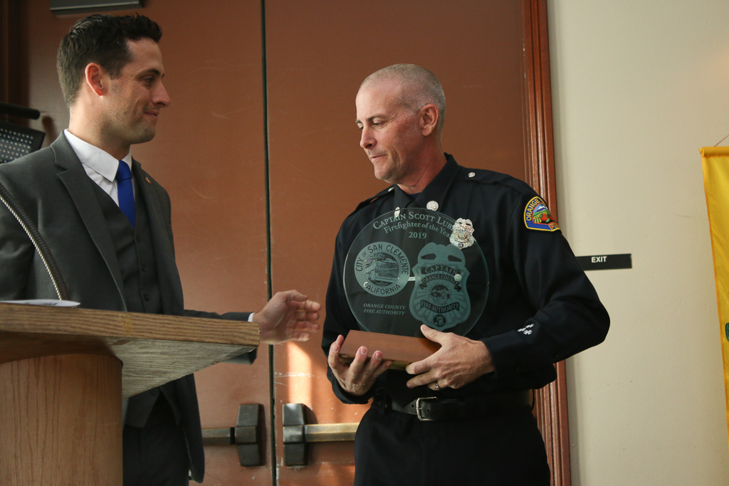firefighter Capt. Scott Lubben was honored as the Firefighter of the Year on Nov. 15 by the Exchange Club of San Clemente. Photo: Eric Heinz