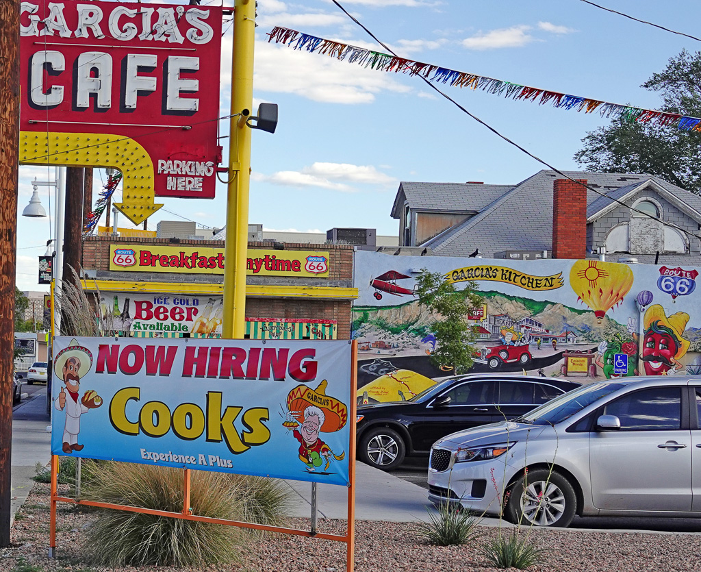 Garcia's Route 66 Cafe is a popular spot along present-day Historic Route 66 in downtown Albuquerque, New Mexico. Photo: Fred Swegles