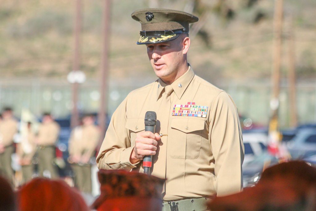 Lt. Col. Warren Cook said he enjoyed the lively community support from San Clemente residents for the 2/4 as he exited command of the unit. Photo: Eric Heinz