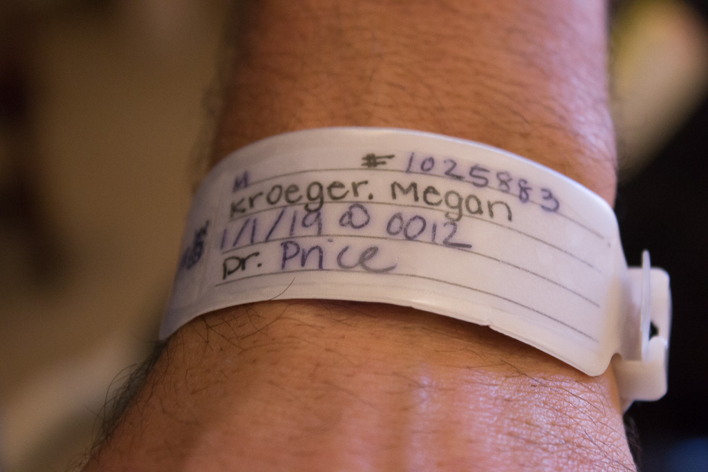 The wristband of James Kroeger shows the date and time his son, James Austin, was born--at 12:12 a.m. (0012) on Jan. 1, 2019. Photo: Eric Heinz