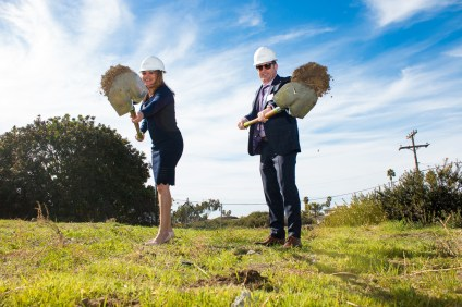 Raya's Paradise COO Monica Westphaln, left, and CEO Moti Gamburd break ground on a new assisted living facility set to open in 2020 in San Clemente. Photo: Eric Heinz