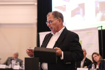 "Tom Palmisano, vice president of decommissioning and chief nuclear officer of Southern California Edison, explains the ""shims"" of a Holtec spent nuclear fuel canister during the June 27 Community Engagement Panel meeting in San Clemente. Photo: File"
