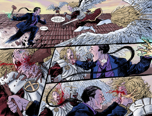Utilizzando i suoi poteri metamorfici, Leo combatte contro i Crismatici,