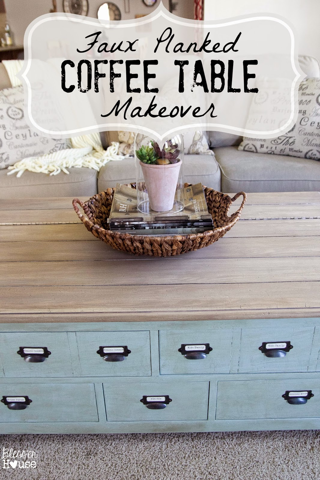 ways to refinish tables desks buffets refinish kitchen table Faux Planked Coffee Table Card Catalog