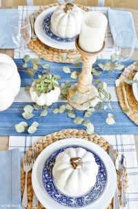 A Blue and White Thanksgiving Table - Sand and Sisal