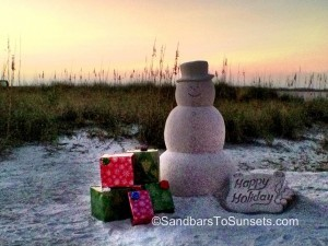 Happy Holidays from Florida Snowman at sunset in Treasure Island Florida